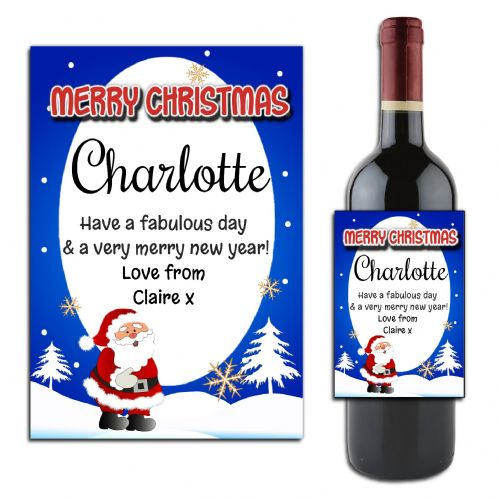 Personalised Christmas  Wine or Champagne Bottle Label N166
